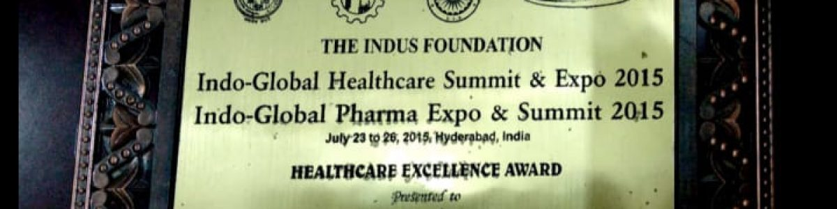 Recieved by deputy chief minister telangana for healthcare excellency in training and consulting 2015